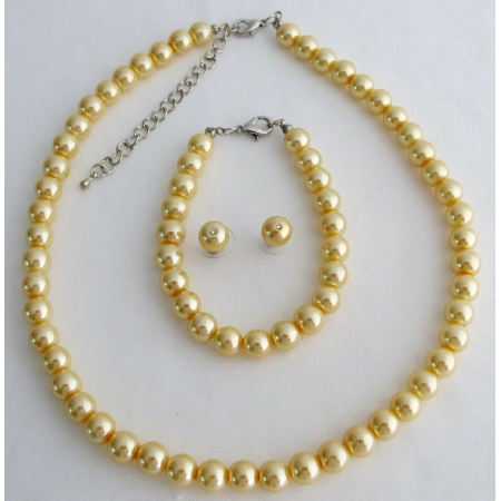Yellow Pearl Bridesmaid Jewelry Set Necklace Earrings & Bracelet Set