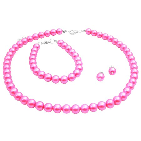 Hot Pink Pearl Wedding Jewelry Set Necklace Earrings & Bracelet Set