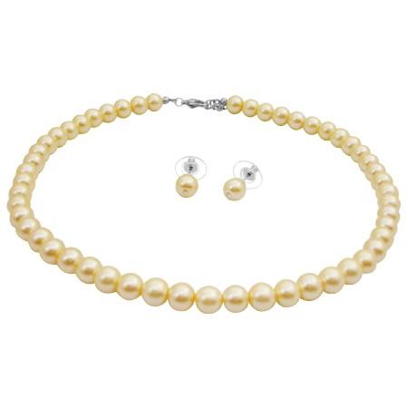 Pale Yellow Jewelry Beautiful Sleek Jewelry Stud Earrings Set