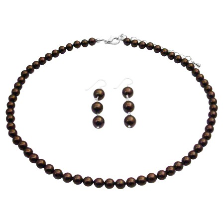 Brown Pearl BridesmaidSet with Dangling Earrings Sterling Silver Jewelry