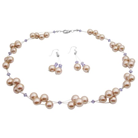Interwoven Jewelry Set Champagne Pearls & Swarovski Tanzanite Crystals
