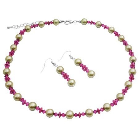 Lime Green Faux Pearls & Swarovski Fuchsia Crystals Wedding Jewelry