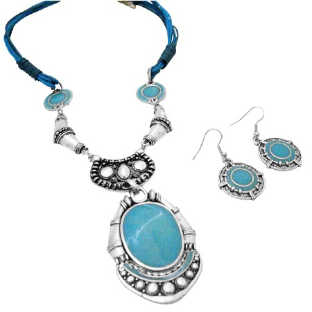 Turquiose Ethnic Jewelry w/ Metal Black Silver Multistring Necklace
