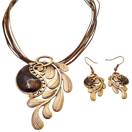 Creative Jewlery In Brass w/ Brown Stone Embedded Party Wear Jewelry