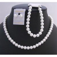 Pure White Soothing Synthetic White Pearls Wedding Jewelry Set White Pearls Complete Set