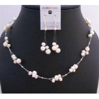 Ivory Freshwater Pearls Choker Set Bridemaides Interwoven Wire Necklace Set Beautiful Dangling Earrings