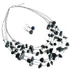 Wedding Gift Multi Strand Necklace Set Black Agate Silver Beads Jewelry Set