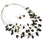 Golden Tigger Nuggets Silver Beads Jewelry Set Multi Strand Gold Wire Illusion Set