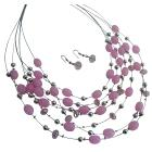 Cool Pink Jewelry Multi Strand Necklace Pink Beads Cute Earrings Set
