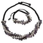 Amesthyst Nuggets Freshwater Pearls Cord Necklace & Bracelet Set