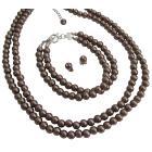 Stylish Trendy Mocha Jewelry Two Stranded Necklace Bracelet And Stud Earrings