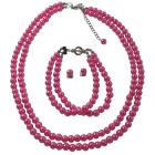 Fuchsia Pearls Jewelry Set Necklace Earrings And Bracelet Affordable Price