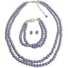 Lilac Pearls Double Stranded Complete Set Simple Yet Elegant
