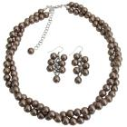 Twisted Necklace Brown Pearls Bridesmaid Jewelry Set Other Colors Available