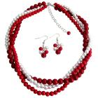 Chunky Twisted Braided Three Strands In Red Coral & White Pearls Necklace Set