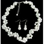 Bridesmaid Necklace Set Pearl Wedding White Pearls Link Necklace Set