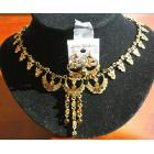Exquisite gold tone set with copper rhinestone