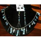 Fun Whimsical Blue Semi Stone All Over Necklace Earrings Set
