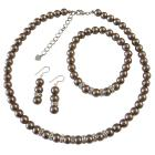 Bronze Brown Bridal Bridesmaid Jewelry Set Complete Set w/ Stretchable Bracelet & Silver Rondells