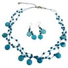 Turquoise Fancy Beads Nugget Handcrafted Shell Jewelry Necklace Set