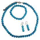 Soothing Blue Cat Eye Necklace Stretchable Bracelet & Sterling Earrings Custom Jewelry