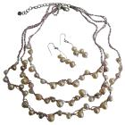MultiColored Freshwater Pearl 3 Stranded Jewelry Peachish Pink White Lavender Freshwater Pearl Necklace Set