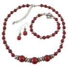 Ethnic Traditional Coral Bali Silver Coral Round Beads Necklace Earrings & Bracelet Complete Coral Jewelry Set