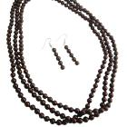 Three Stranded Brown Pearl Necklace Sets Affordable Wedding Jewelry Inexpensive Bridesmaid Brown Necklace Set