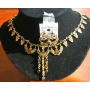 Exquisite Gold Tone Set w/ Copper Rhinestone Jewelry