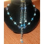 Boho Multi Bead in Blue Tone Sequin Necklace Earrings Set
