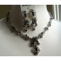 Black Vintage Victorian Style Necklace Earrings Set