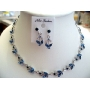Blue Sapphire Vintage Victorian Style Necklace Earrings Set