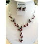 Exquisite Red Butterfly Rhinestones Necklace & Earrings Set