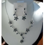 Gorgeous Delicate unique Brown Enamel Flower Necklace Earrings Set