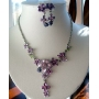 Enamel Purple Flower w/ Simulated Crystals Victorian Necklace