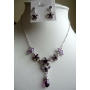 Vintage Style Necklace Set Beautiful Purple simulated Crystals