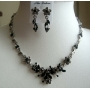 Necklace Set Adorned w/ Brilliant & Sparkling jet Crystals