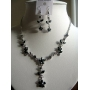 Vintage Delicate Black Crystals Necklace Earrings Set