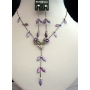 Enamel Purple Flower & Crystals Y Shaped Necklace Earrings Set