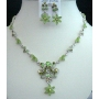 Vintage Necklace Set In Peridot Crystal & Stone Necklace & Earrings BRAND NEW