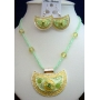 Shell Enameled Green Necklace & Earrings