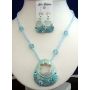 Necklace Set Artform Turquoise Crystals Shell & Bead w/ Enameled Shell