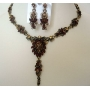 Lovely Necklace Set Copper & Gold Crystals Artoform Jewelry