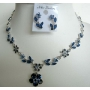 Blue Enameled & Sapphire Crystals Necklace & Earrings Set