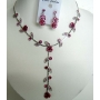 Rhodium Plated Pink Enameled Flower & Crystals Y Shaped Necklace Set