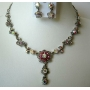 Sparkling Beautiful Rose Pink Crystals Silver Plated Necklace Earrings