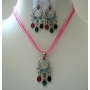 Necklace Set Pink Multi Strands w/ Multi Crystals Dangling Pendant