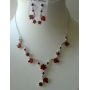 Vintage Red Crystals Necklace Earrings Jewelry Set