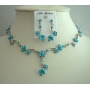Smashing Cool Summer Color Aquamarine Turquoise Necklace Set