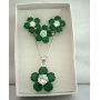 Simulated Emerald Crystals Necklace Earrings Set & w/ Ring